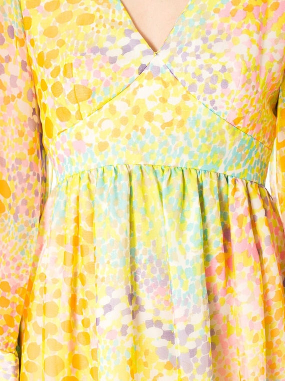 1970S Multicolor Psychedelic Polyester Chiffon Ma… - image 7