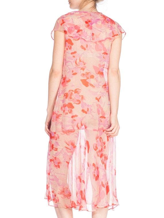 1920S Silk Chiffon Pink Floral Drop Waist Day Dre… - image 6