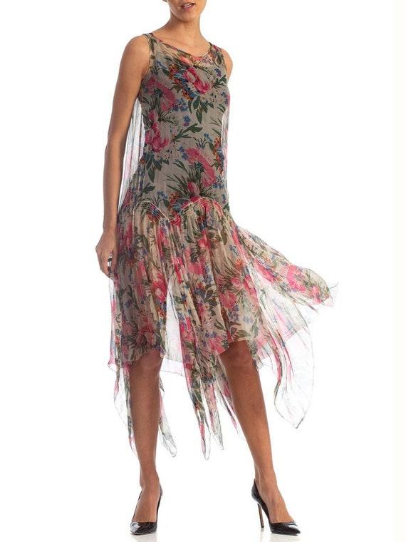 1920S Floral Silk Chiffon Summer Tea Party Dress - image 8