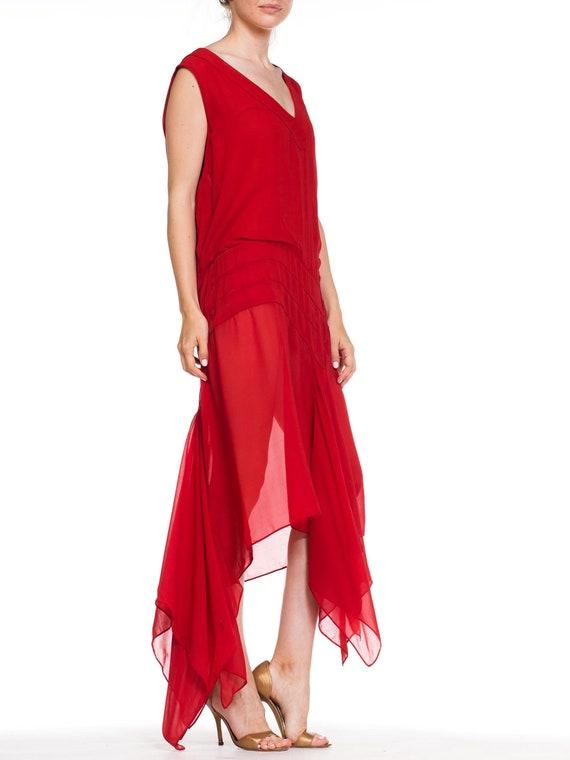 1920S Deep Waist Red Silk Chiffon Flapper Dance D… - image 3