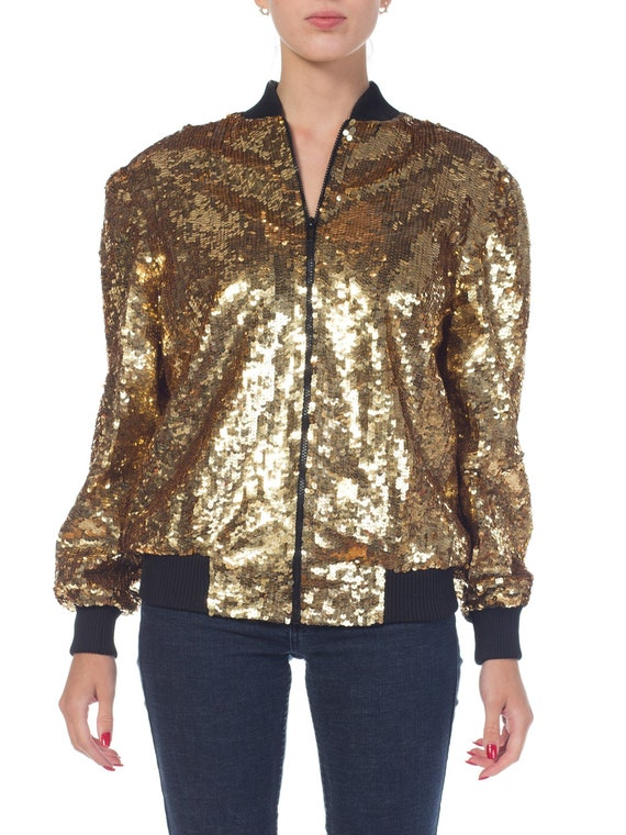1980s Gold Sequined Bomber Jacket Size: M