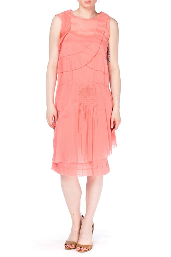 1920S Pink Cotton Ruffle Front Day Dress