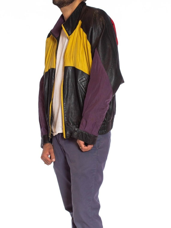 1990S Black Leather Men's Bomber Jacket With Yell… - image 6
