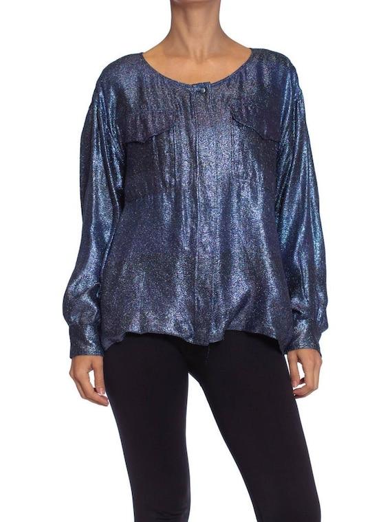 1980S Per Spook Couture Teal Metallic Silk Lurex C