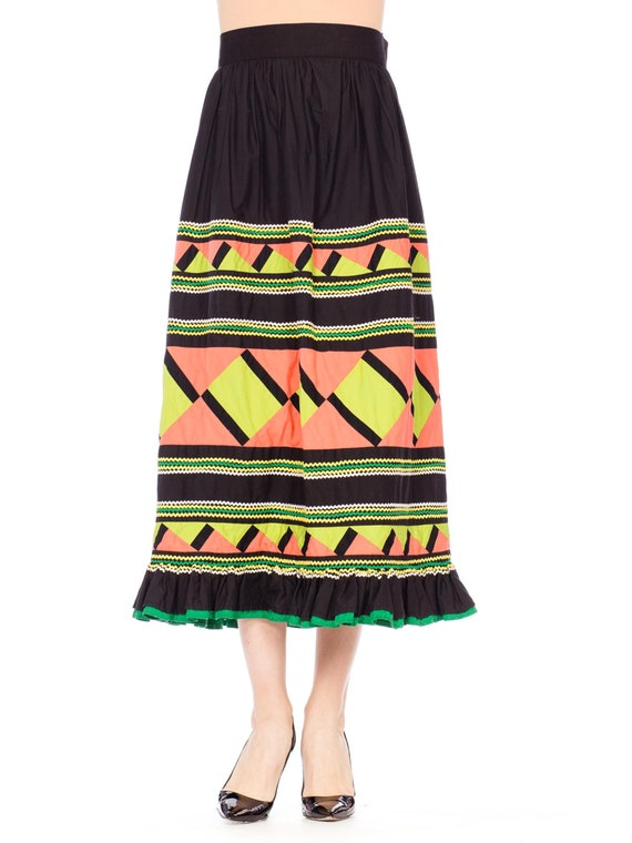 1970S Black Patchwork Cotton Seminole  Skirt With