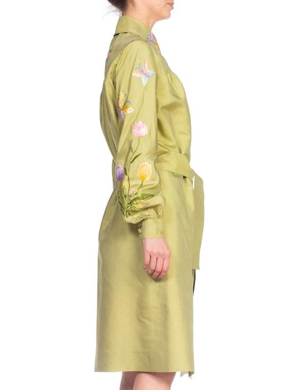 1970S Green Silk Hand Embroidered Shirt Dress - image 3