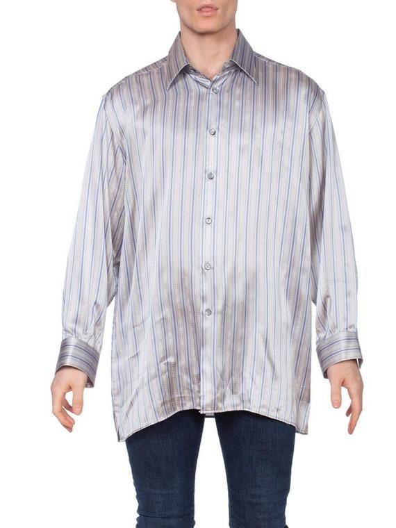 1990'S Grey Silk Satin Men's Stripe Shirt