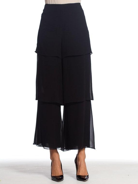 1990s-armani Silk Chiffon Pants Size: L - image 1