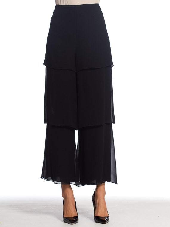 1990s-armani Silk Chiffon Pants Size: L