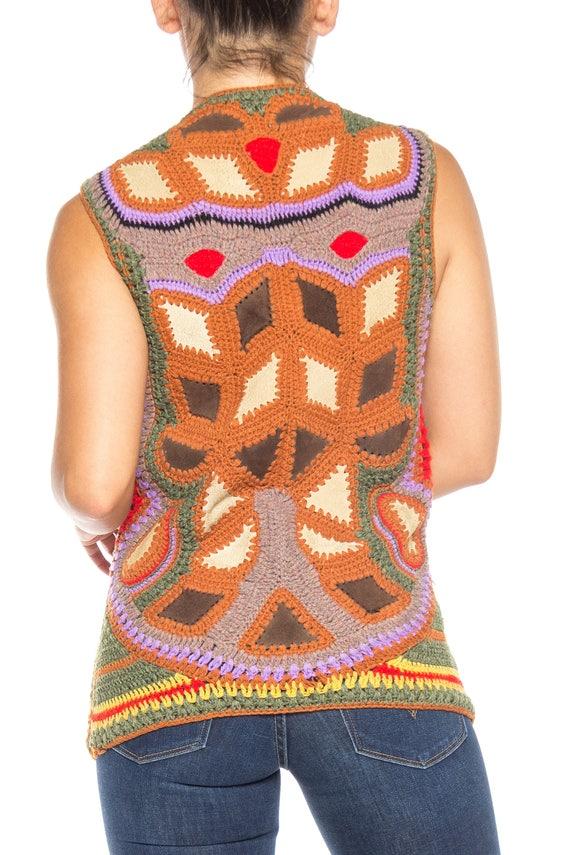 1970S Multicolor Acrylic Crochet & Suede Boho Vest - image 4