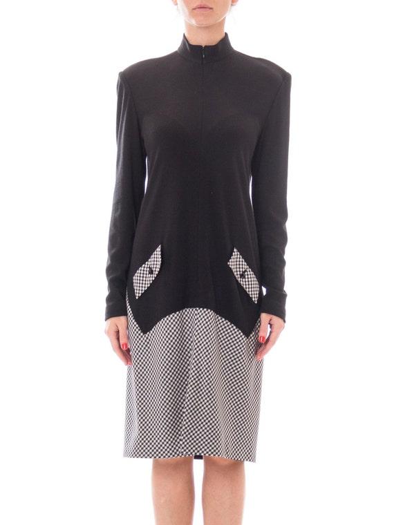 1990S GEOFFREY BEENE Black Wool Jersey & Rayon Ble