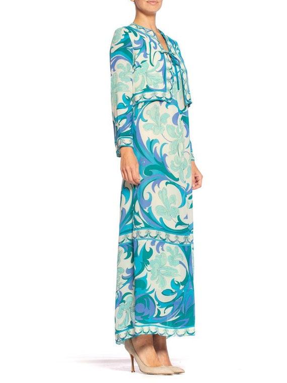 1960S EMILIO PUCCI Aqua  Blue Silk Chiffon Psyche… - image 2