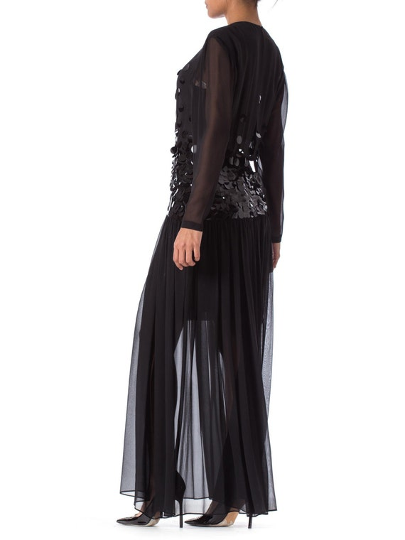 1980S PAULINE TRIGERE Black Beaded Silk Chiffon L… - image 4