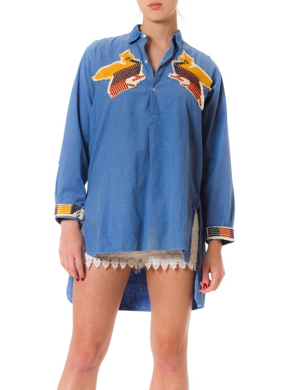 1930S Blue Cotton Chambray French Workwear Shirt W