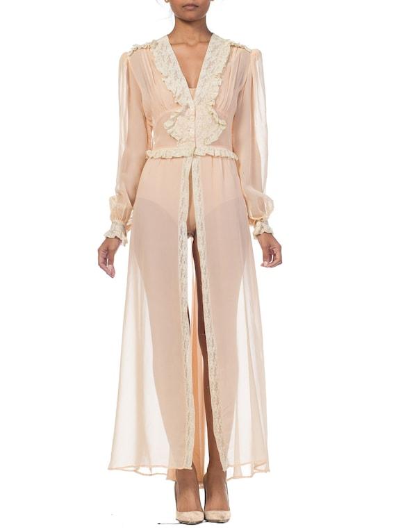 1940S Blush Pink Rayon Chiffon Sheer Peignoir Robe
