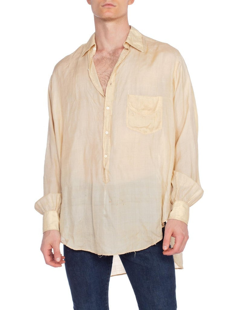 Men's 1920s Style Ties, Neck Ties & Bowties 1920S Cream Silk Rare Mens French Pullover Shirt With Glass Buttons $70.00 AT vintagedancer.com