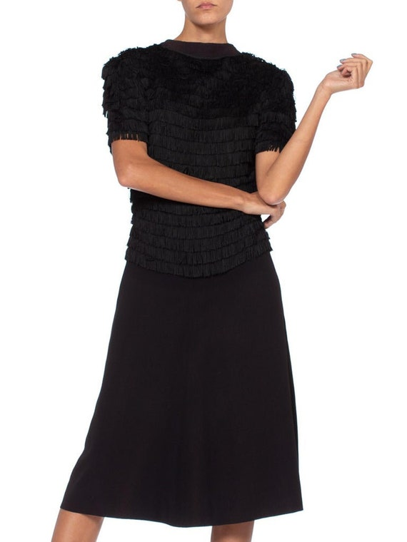 1940S Black Rayon & Silk Crepe Zipper Front Fring… - image 5