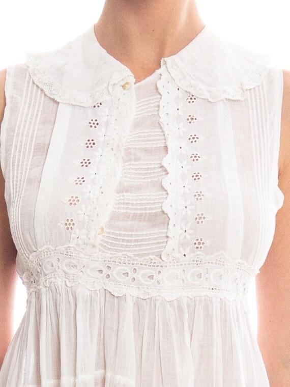 Edwardian White Cotton Eyelet Lace Babydoll Tunic… - image 5