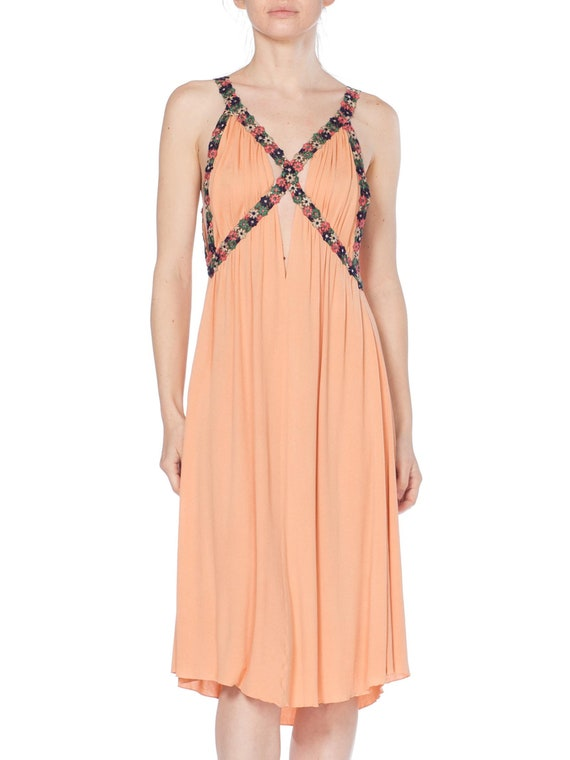 MORPHEW COLLECTION Peach Silk Jersey Dress With Cu