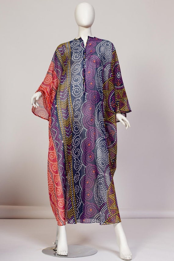 1970S SAKS Purple & Blue Polka Dot Polyester Chiff