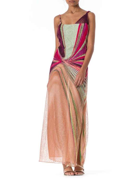 1990s Gianni Versace Couture Backless Sheer Chiffo