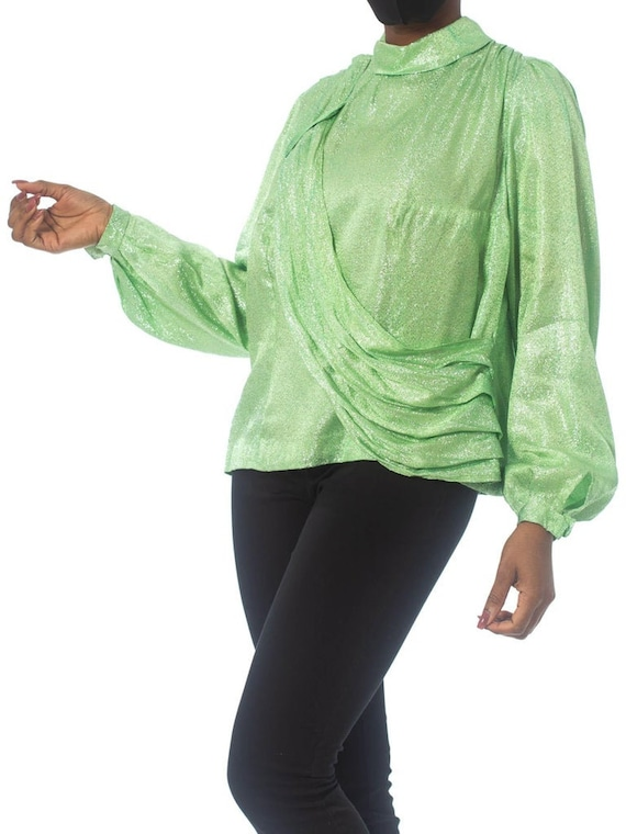 1970S Mint Green Silver Poly Lurex Long Sleeve Top - image 4