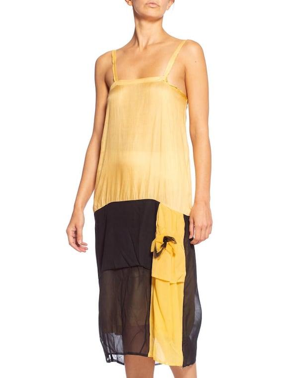 1920's Yellow & Black Silk Chiffon Dress - image 4
