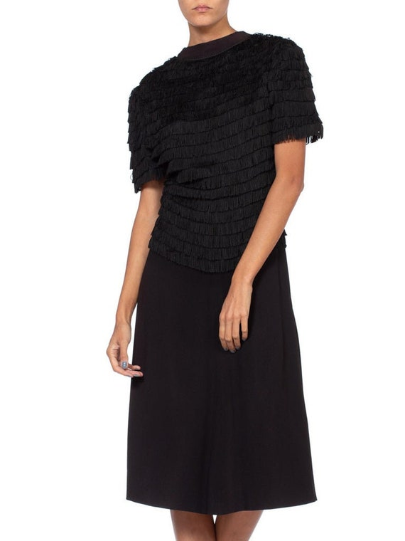 1940S Black Rayon & Silk Crepe Zipper Front Fring… - image 1