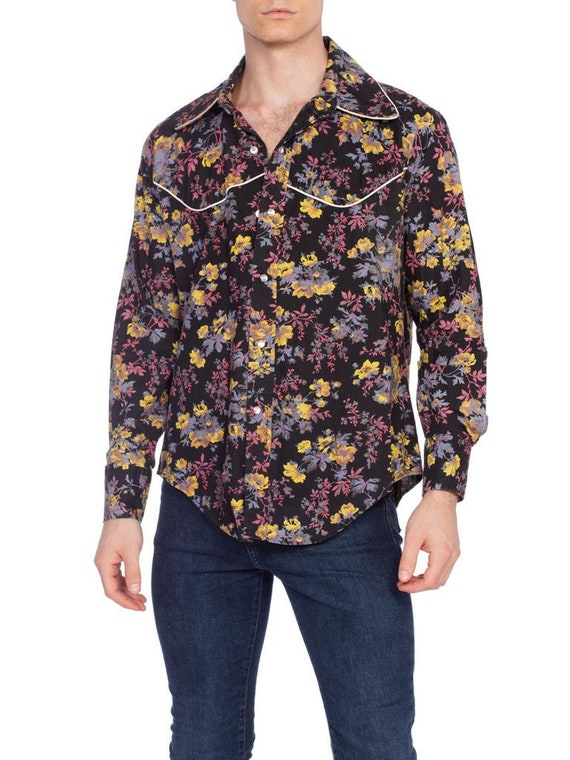 1970S Cotton Mens 16L Floral Snap Western Shirt