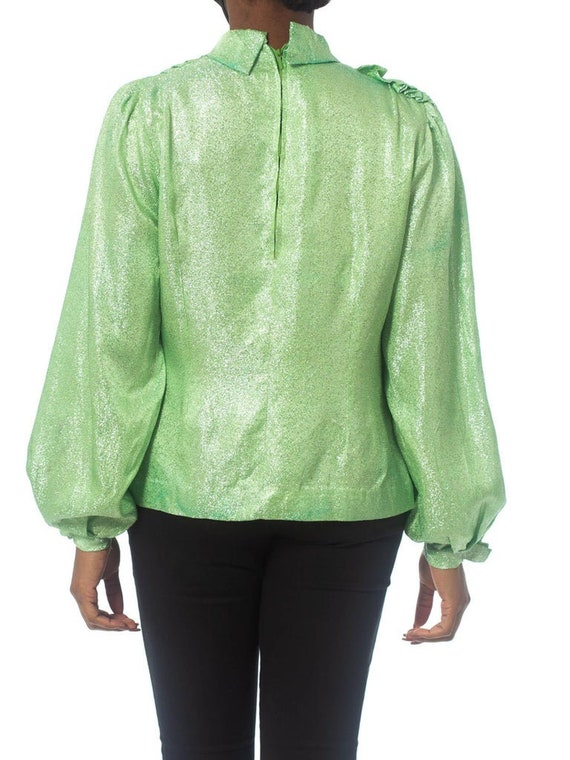 1970S Mint Green Silver Poly Lurex Long Sleeve Top - image 2