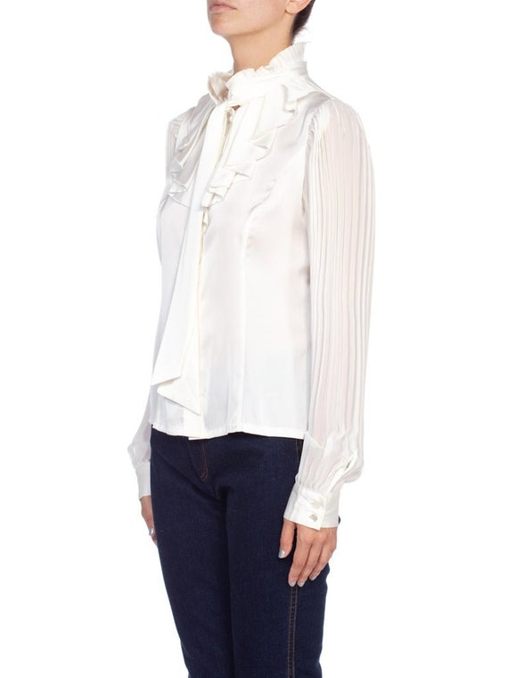 1970'S White Polyester Sateen Ruffled Bow Neck Bl… - image 2