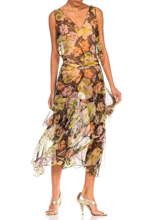 1930S Floral Silk Chiffon Dress - image 6
