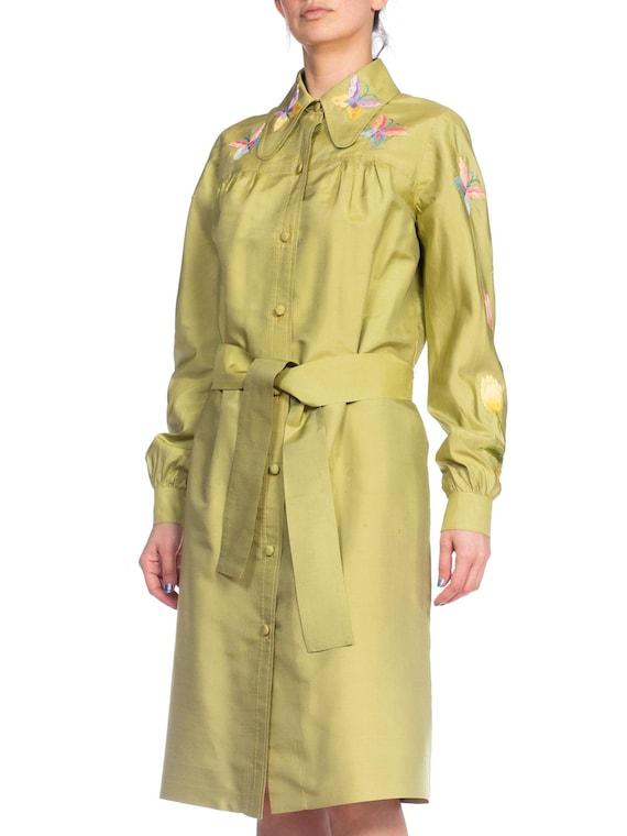 1970S Green Silk Hand Embroidered Shirt Dress - image 6