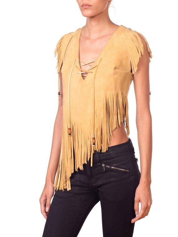 1970S Yellow Tan Suede Leather Beaded Fringe Lace