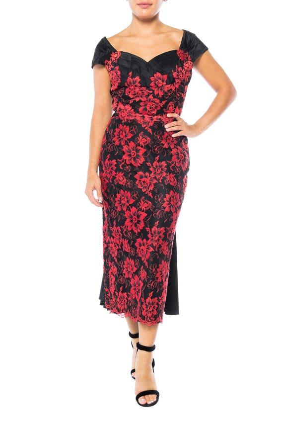 1950S PEGGY HUNT Black & Red Silk Taffeta Chantill