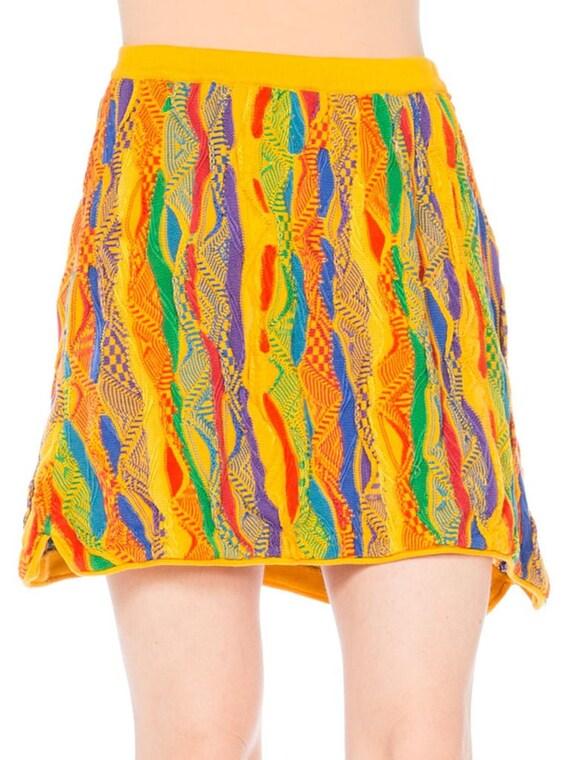 1990S Coogi Multicolor Yellow Knit Elastic Waist M