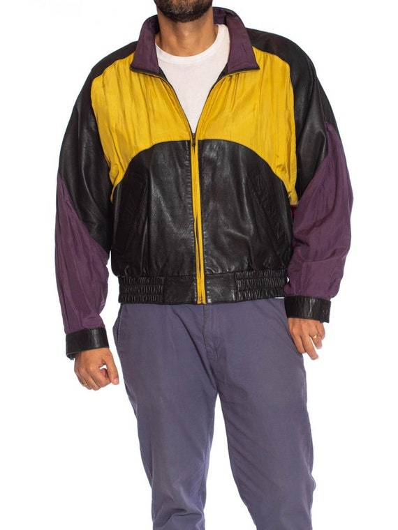 1990S Black Leather Men's Bomber Jacket With Yell… - image 4