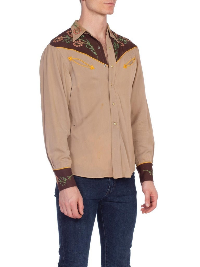 1940s Men's Shirts, Sweaters, Vests 1940s Brown Wool Mens Two-Tone Western Shirt With Metallic Floral Embroidery $70.00 AT vintagedancer.com