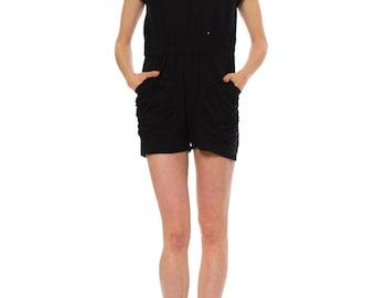 1980s Vintage Mister Noah Black Short Jumpsuit   Size: S/M