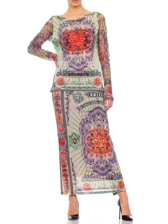 1990s JEAN PAUL GAULTIER Mesh Iconic Money Print … - image 5