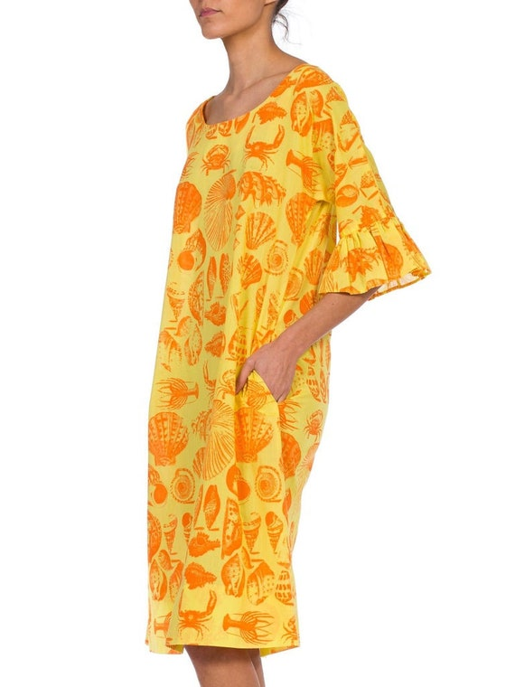 1970S Yellow & Orange Cotton Blend Bright Seaside… - image 4