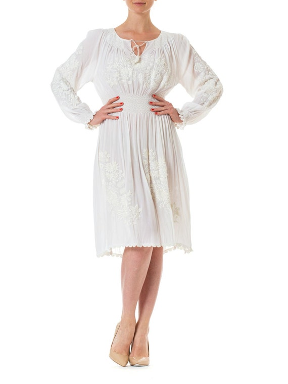1920s White Embroidered Long Sleeve Peasant Bridal Dress Etsy