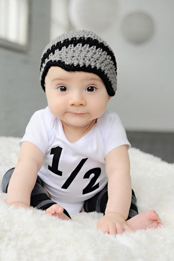 Baby boy crochet hat newsboy beanie gray and black  4f46d4d871f