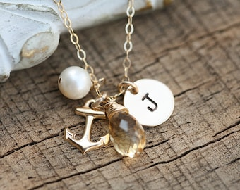 Gold Anchor necklace,Strength Anchor Navy,Personalized necklace,custom initial birthstone,Beach theme wedding,Birthday,bridesmaid gifts