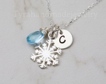 SNOWFLAKE necklace,custom monogram,birthstone initial necklace,custom font,custom birthstone,WINTER WEDDING,Bridesmaids Gift,Wedding jewelry