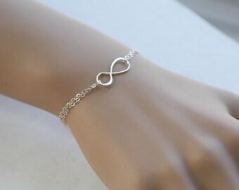 Sale Infinity Bracelet,Best friends Bracelet,Bridesmaid Gifts,Friendship,Eternity infinity Sterling Silver Bracelet,Sisterhood,Graduation