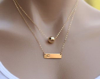 Personalized Gold Nameplate Bar Karma ball necklace, Bar ball, Contemporary Bridesmaid's jewelry, Initial Rectangle ball
