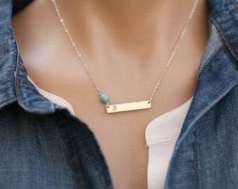 Long bar birthstone nameplate necklace,custom initial bar necklace,Silver,Rose gold,custom font,Skinny Initial Name Plate,custom birthstone