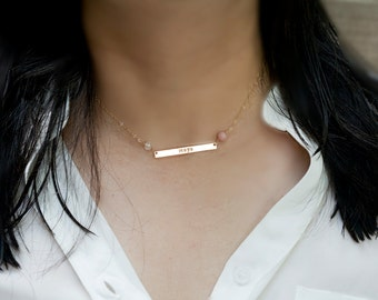 Personalized two birthstones Long bar nameplate necklace,Silver or Gold or Rose gold, Skinny Initial Name Plate Contemporary