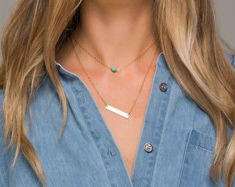 Personalized name bar gemstone necklace,Rectangle Monogram,Contemporary bar,Layered bar necklace,Turquoise,double layered